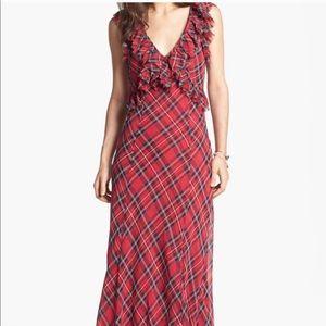 NWT Free People Plaid Maxi Dress size 0